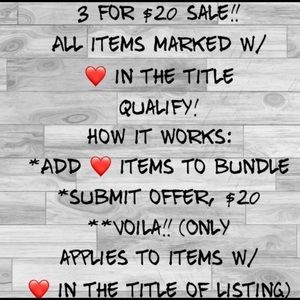 SALE! 3 ❤️ Items For $20!!!